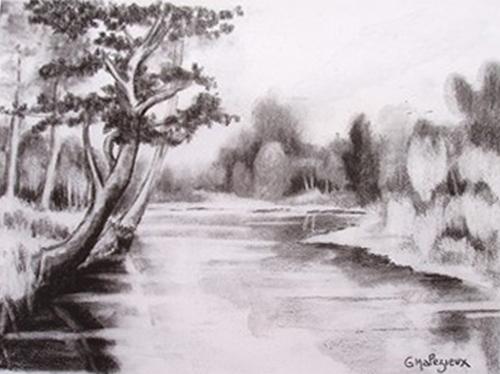 Représentant une rivière localisation collection particuliere date