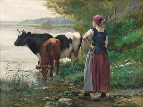 Vaches à la mare  par Julien Dupré