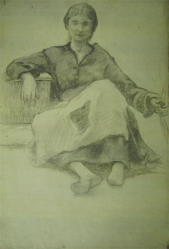 Femme assise souriant par Georges Paul François Laurent Laugée