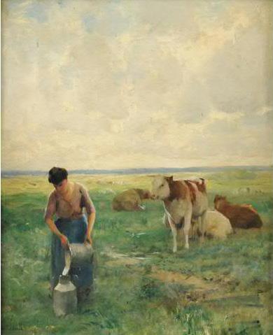 La laitière Julien Dupré Peinture Toile Huile