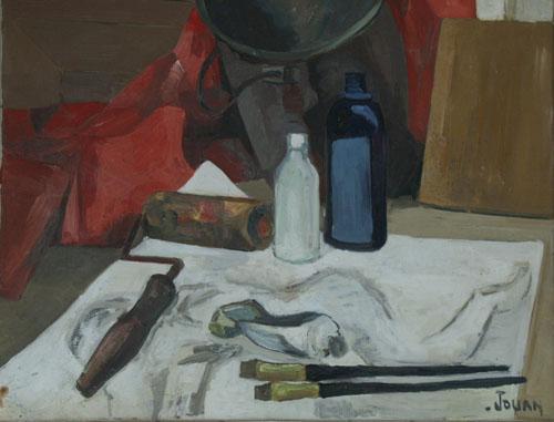 nature morte aux pinceaux jean paul jouan peinture toile huile. Black Bedroom Furniture Sets. Home Design Ideas