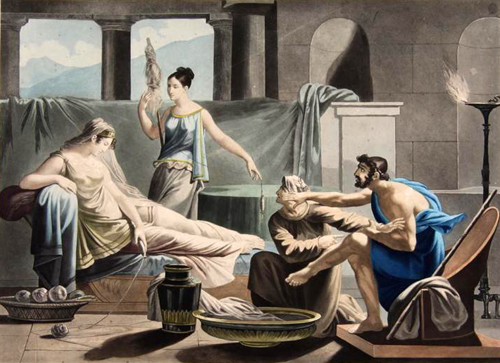 Odyssee Ulysse Est Reconnu Par Euryclee Pierre Jerome Lordon Peinture Papier Encre