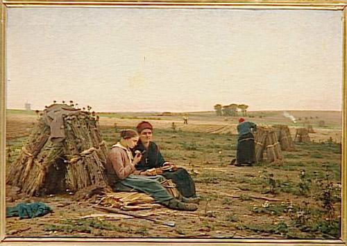Le goûter des cueillettes d'oeillettes par Désiré François Laugée