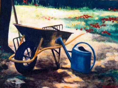 Un arrosoir brice mal zieux peinture toile huile - Toile jardin castorama brest ...