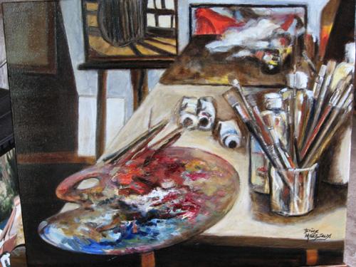 l 39 atelier du peintre brice mal zieux peinture toile huile. Black Bedroom Furniture Sets. Home Design Ideas